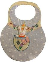 3-D Pocket Bunny Bib Quilted Embroidered Pocket Bunny w/Butterflies Soft... - $9.89