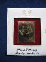 1986 Stamp Collecting Honoring Ameripex 86 replica 22kt Gold Golden Cove... - $5.19