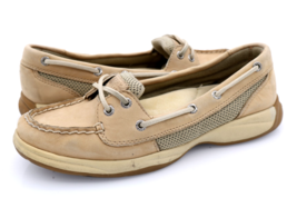 Sperry Top Sider Womens 7M Beige Leather Two Eye Slip On Boat Shoes - $27.99