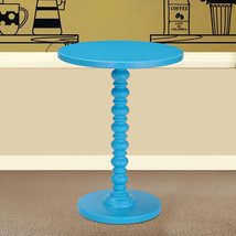 Adeco Round Wood Side End Table Central Leg, Blue - $66.32