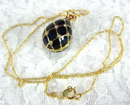 Necklace Sapphire Blue And Rhinestone Easter Egg Cloisonne Enamel 1967 U... - $58.00