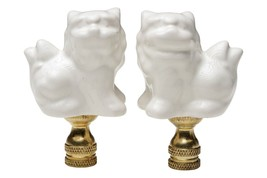 "Pair of White Porcelain Foo Dog Table Lamp Finial 2.75"" - $39.59"