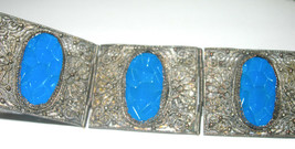 VINTAGE MANDARIN PEKING CHINESE CHINA FILIGREE CARVED BLUE GLASS BRACELET - $250.00