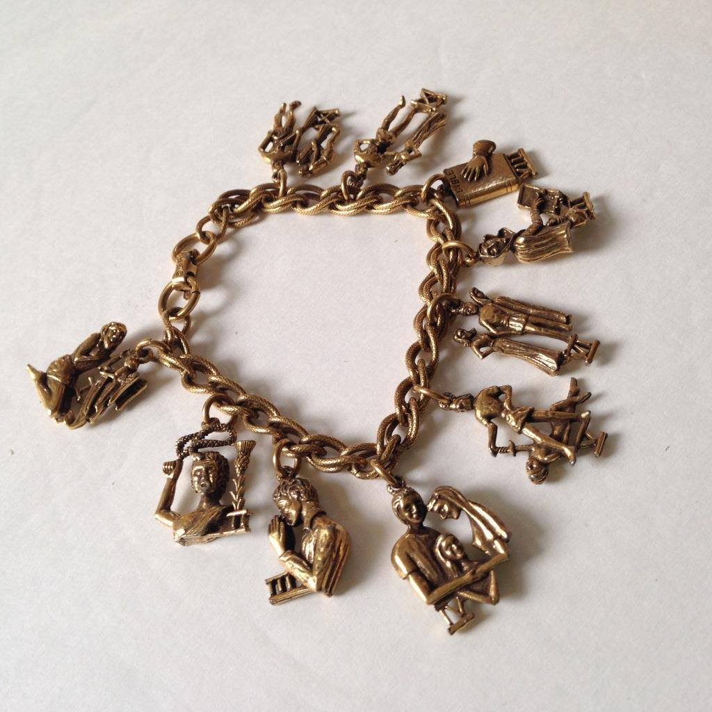 Vintage, Rare, Coro, Gold Plated, 10 Commandments Charm Bracelet, 7in L