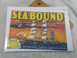 Vtg Fruit Crate Label Sea Bound Ventura County Sunkist Lemons Oxnard CA 12 x 9 - $20.78