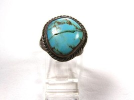 Vintage Southwest Sterling Silver Turquoise Ring Size 8 1/2 Unbranded 10715 - $1.044,20 MXN