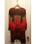 The Limited Open Front Cardigan Sweater Striped Color-Block Rayon Size M... - $26.99