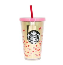 Starbucks Gold Pink Tiny Hearts Valentine Day Love Acrylic Cup Tumbler 1... - $48.50