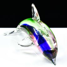 Dynasty Gallery Handmade Rainbow Dolphin Art Glass Figurine Paperweight image 4