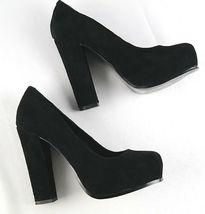 Steve Madden Sarrina Platform Pumps Womens Sz 7.5 Black Suede High Heel Shoes image 5