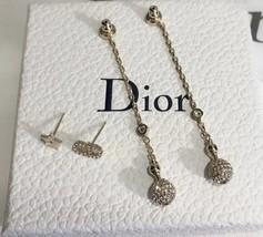 NEW AUTH Christian Dior 2019 LA PETITE TRIBALE EARRINGS CD CRYSTAL Pearl Dangle  image 6