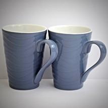 Starbucks Vintage Textured Wave Mug 2014 Wavy Blue Purple 2 Coffee Cups ... - $28.66