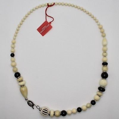 NECKLACE ANTIQUE MURRINA VENICE WITH MURANO GLASS BEIGE SAND BLACK COA06A02