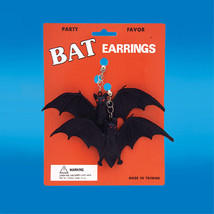 WHOLESALE-6-Gothic Vampire GIANT BLACK BAT EARRINGS Costume Party Favor-... - $9.87