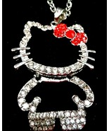 Hello Kitty Silver Chain Red Bow Crystal Pendant Necklace Charm Fashion ... - $11.87