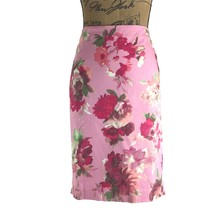 Talbots Pencil Skirt 2 P Sm S Pink Watercolor Red Green Floral Cotton Stretch LN - $26.95