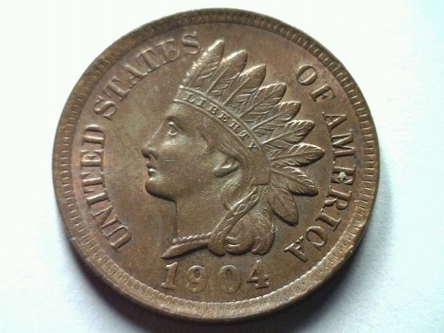1904 INDIAN CENT PENNY CHOICE UNCIRCULATED / GEM CH. UNC./ GEM RED / BROWN - $94.00