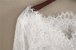 White Off Shoulder Long Sleeve Floral Lace Top Wedding Bridesmaid Lace Crop Tops image 4