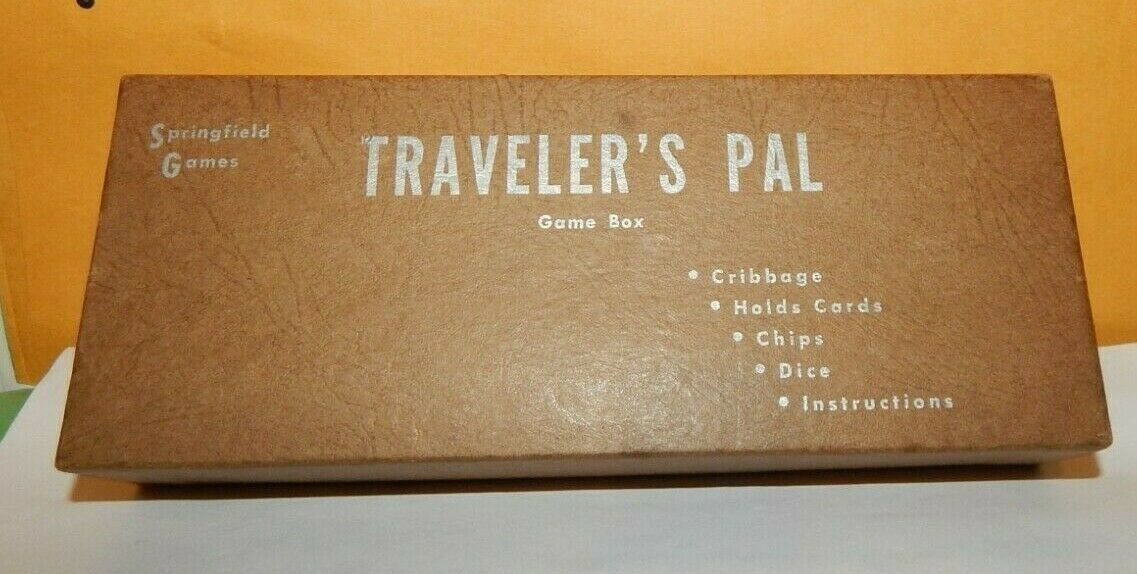 Primary image for Travelers Pal Vintage Game Box Springfield Games Complete Cribbage Chips Dice