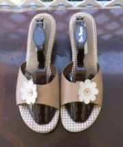 Montego Bay Club Size 13 Tan Leather Slides Sandals Slip On Shoes - $13.99