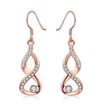 Infinity Crystals Drop Earrings 18K Rose Gold Plated Women's Fashion Jew... - $16.96
