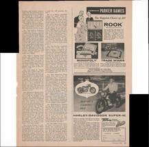 Harley-Davidson Super-10 Motorcycle 1960 Vintage Antique Advertisement - $1.28