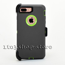 iPhone 7 & iPhone 8 Hard Defender Shell Case w/Holster Belt Clip Gray Lime Green - $16.00