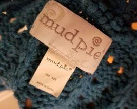 Mudpie Knit Teal Blue Pom Pom Infinity Cowl SCARF Wrap Crochet Boho Retro Groovy image 3