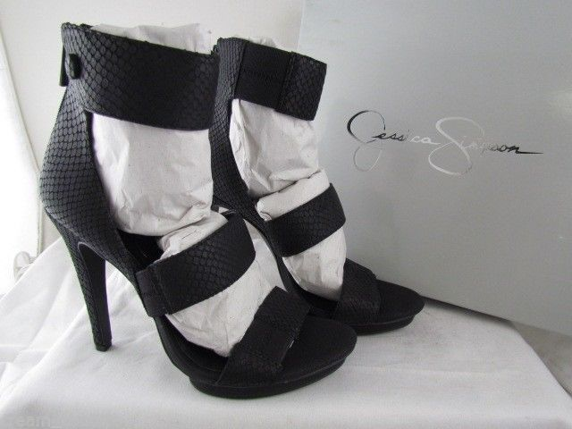 Primary image for NIB Black Jessica Simpson Fransi Snake Skin Strappy Dress Sandals 9.5 MSRP $109
