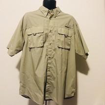 Columbia PFG Performance Fishing Gear Sz Large short sleeve shirt Tan Omnishade - $43.54