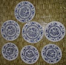 "Lot 7 J & G  MEAKIN BLUE NORDIC ONION DESSERT/SALAD PLATES 7""/ 6"" England  - $28.02"
