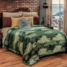 Camouflage Green Reversible Camuflaje Lightweight Blanket by Intima Hogar - $54.40+