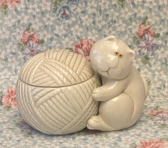 Vintage Fitz and Floyd Cat Snip ceramic yarn string holder pottery figur... - $10.00