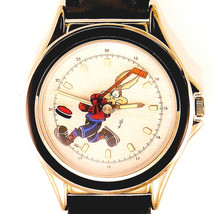 Wile E Coyote Hockey Player Fossil Silver Tone Black Insert WB Watch Unw... - $113.70