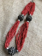 Coral Necklace Beaded with Silver Metal Large Tribal Beads For Her - $30.00