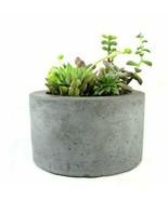 Round Concrete Planter Flower Pot Handmade Home & Garden Decor Gray - $37.99