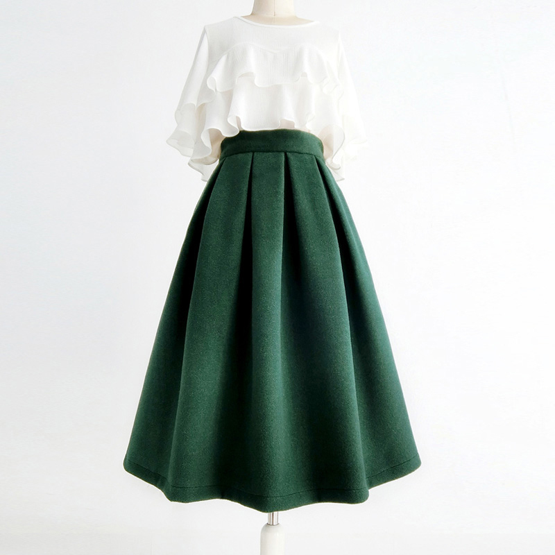 Winter Wool Skirt Dark Green Warm Midi Party Skirt A-line with Pockets Plus