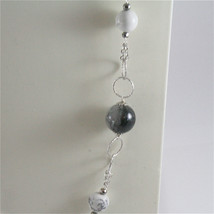 925 STERLING SILVER NECKLACE WITH GREY QUARTZ AND WHITE HOWLITE 23,62 IN image 2