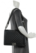 AUTHENTIC CHANEL BLACK QUILTED LAMBSKIN LARGE BOY FLAP BAG RHW image 9