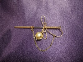 Hillcraft Pin Brooch Hat Pin Sword with Sheath Gold Filled Faux Pearl Vi... - $24.75