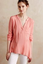 NWT $78 Anthropologie Peach Laiken Henley Blouse Top by Maeve - $30.40