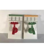 Faucet Bathroom Wall Decor Red Green Retro Towel Holders Hangers Set of 2 - $19.80