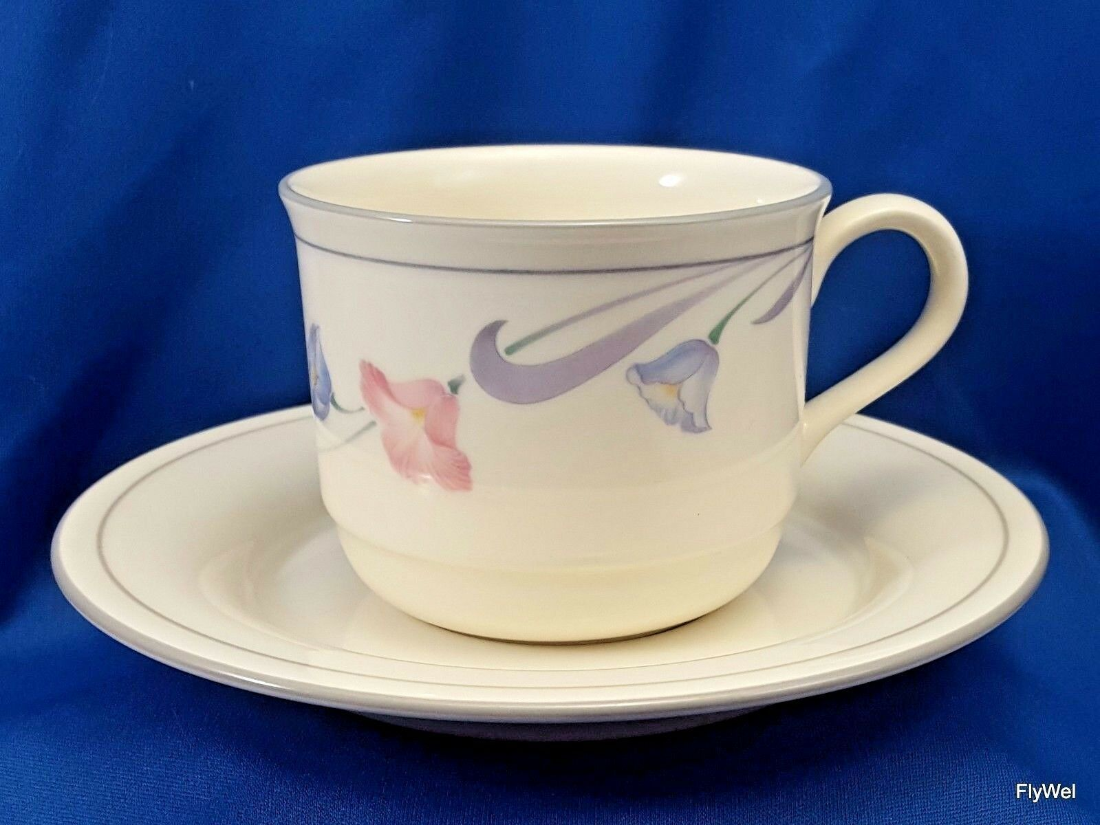 Primary image for Lenox Glories on Grey Tea Cup and Saucer Cream Chinastone Pink Blue Flowers 8 oz