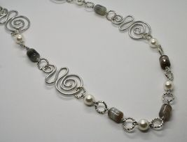 NECKLACE THE ALUMINIUM LONG 80 CM WITH CHALCEDONY AND PEARLS WHITE image 5