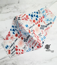 Face Mask Cooking Baking Cotton Kitchen Red White Blue Lined Cloth Facem... - $13.50