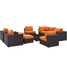 Convene 10 Piece Outdoor Patio Sectional Set Espresso Orange EEI-2169-EX... - $3,061.00