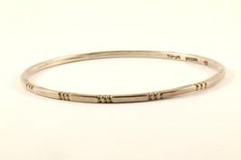 Vintage Thin Notches Ribbed Design Bangle Bracelet 925 Sterling BR 1787 - $29.99