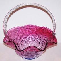 "GORGEOUS RARE FENTON ART GLASS MULBERRY JACQUELINE 10 1/2"" BASKET - $113.84"