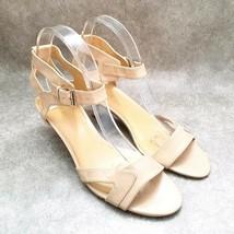 """Nine West Womens Off Da Hook  Size 8.5 Tan Open Toe Ankle Strap 2.5"""" Heels Sanda - $19.99"""