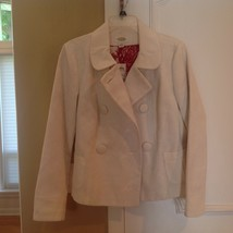 Talbots white flower imprint jacket/Blazer size M double breasted linene... - $27.72